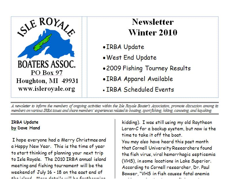 IRBA Newsletter Winter 2010
